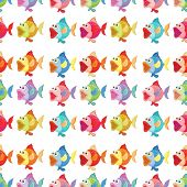 Illustration of a seamless design of fishes on a white background