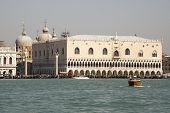 View Of The Doge's Palace With Boats. Venice. Italy