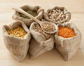 Hessian Bags With Peas, Chick Peas, Red Lentils, Wheat And Green Mung