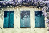 Old Windows With Blue Shutters.
