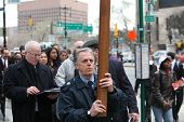 John Bartlet, Engine 167, carries cross from City Hall