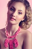 Fashion beautiful woman with jewelry precious decorations.