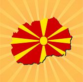 Macedonia map flag on sunburst vector illustration