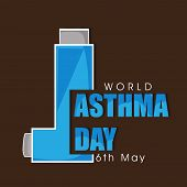 stock photo of auscultation  - World Asthma Day concept with inhaler and stylish text on brown background - JPG