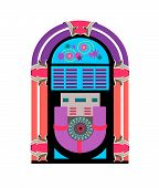 foto of jukebox  - jukebox music and dance player fifties theme done in fun bright neon colors - JPG