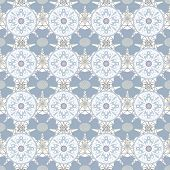 Seamless Openwork Grey Lace Floral Pattern On White
