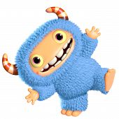 foto of bigfoot  - 3 d cartoon cute blue monster toy - JPG