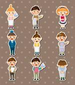 Cartoon Waiter And Waitress Stickers