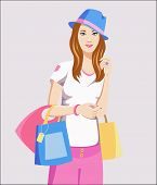 Cute Girl At The Shopping With Bags