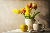 Still Life Bouquet Yellow Tulips Cup Of Tea