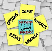 Decision Making words on sticky notes surrounded by things to consider such as options, input, resea