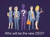 Vector Illustration Of A Business Team Standing Together In The Center And The Ceo Silhouette With A