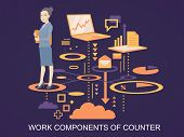 Vector Illustration Portrait Of A Woman Counter Keeps A Folder With Documents In Hands Stands On The