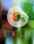 Sale discount 0% button on blurred background