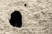 Stone Fortification Of Beige Color With A Window