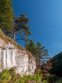 Ojcow National Park with limestone rocks in autumn time, part of Krakow-Czestochowa Upland, Poland
