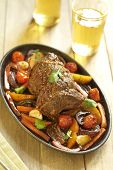 Baked veal with vegetables