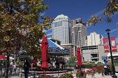 COLUMBUS, OHIO-SEPTEMBER 27, 2014:  The Columbus Commons in Columbus, Ohio attracts visitors year round.  The carousel runs spring through fall.