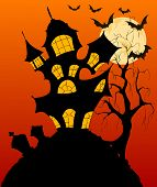 Halloween Background With Spooky Haunted House