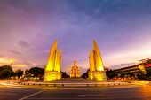 Moment Democracy Monument at Sunset