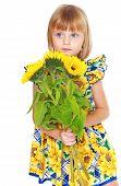 cute little girl with a sunflower