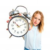Girl Showing Clock Over White Background