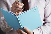Businessman Writing In 2015 Diary