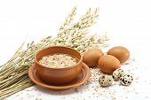 Served Place Setting: Hot Morning Porridge And Eggs On White Background