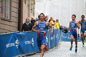Triathletes Pierre Le Corre, Vincent Luis And Alessandro Fabian Running
