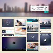 Set of media players for websites and mobile websites design