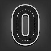 Zero number. Road font