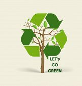 Tree shaped Recycle symbol. Vector symbol on the packaging, vector Illustration.