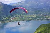 picture of annecy  - paraglider flying over Lake Annecy in France