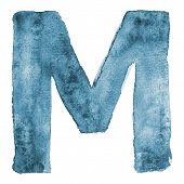 Watercolor vector capital letter M