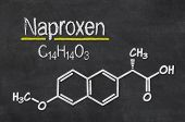 Blackboard with the chemical formula of Naproxen
