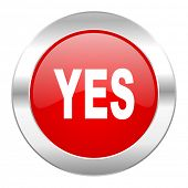 yes red circle chrome web icon isolated