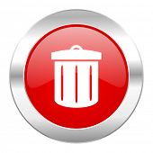 recycle red circle chrome web icon isolated