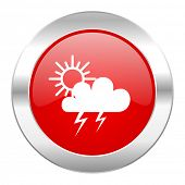 storm red circle chrome web icon isolated
