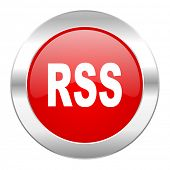 rss red circle chrome web icon isolated