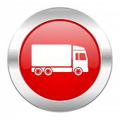 delivery red circle chrome web icon isolated