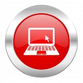 image of movable  - computer red circle chrome web icon isolated  - JPG
