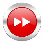 rewind red circle chrome web icon isolated