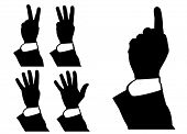 illustration of hand counting, pointing, vector