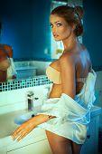 Attractive Girl In Bathroom