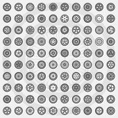 Car wheel set. Rims icons