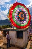Colorful Kite On Top Of Tomb, All Saints' Day, Guatemala
