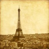 View of Eiffel Tower.Old style photo.