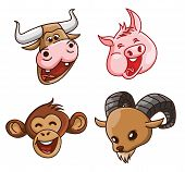 Animal Head Collection :Pig,Cow, Monkey & Goat