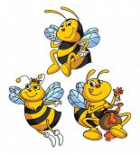 image of bumble bee  - Bee Funny Cartoon Editable  - JPG