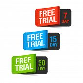 Free trial labels. Vector illustration.